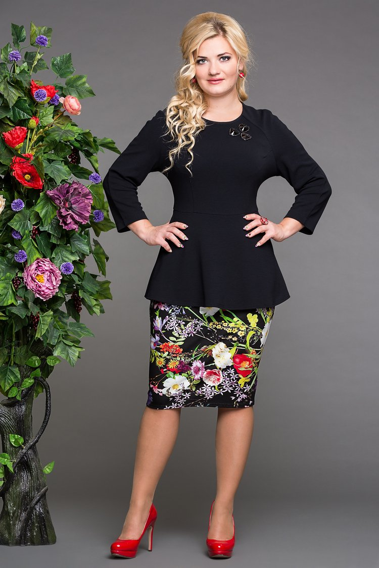 блуза дива черный+ юбка