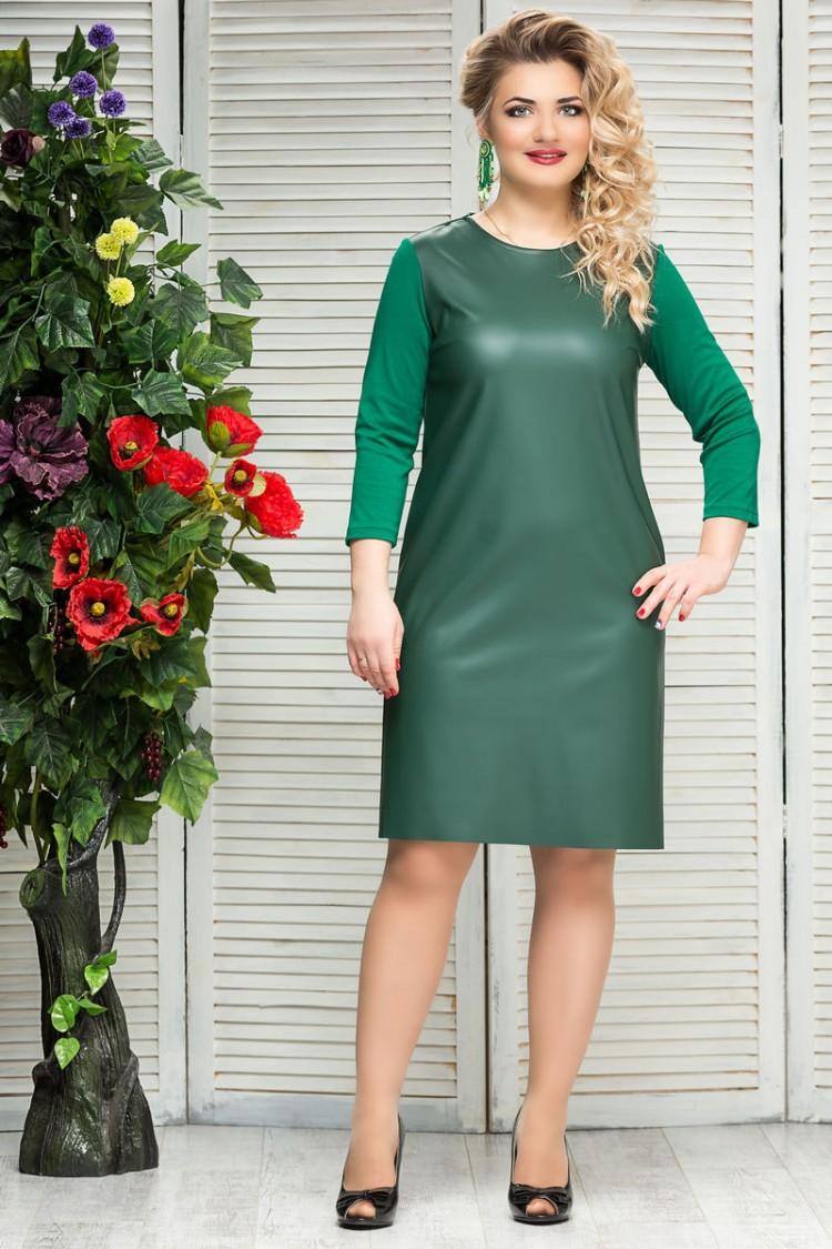 платье-кожа-зеленый