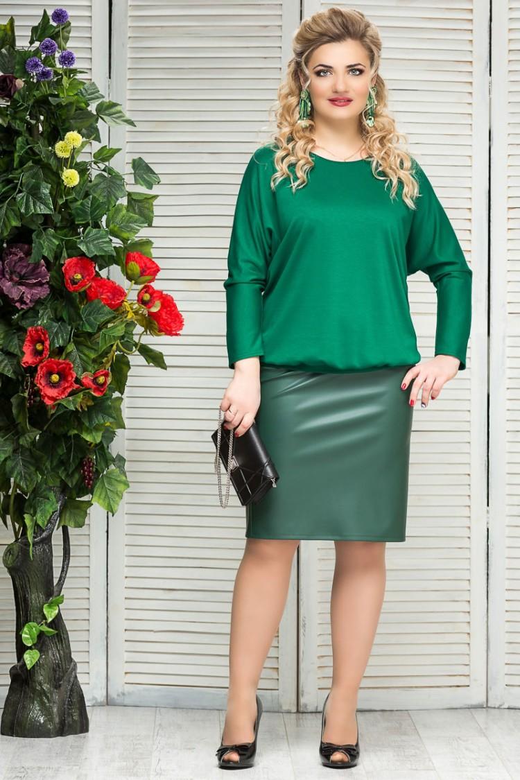 юбка-кожа-зеленый