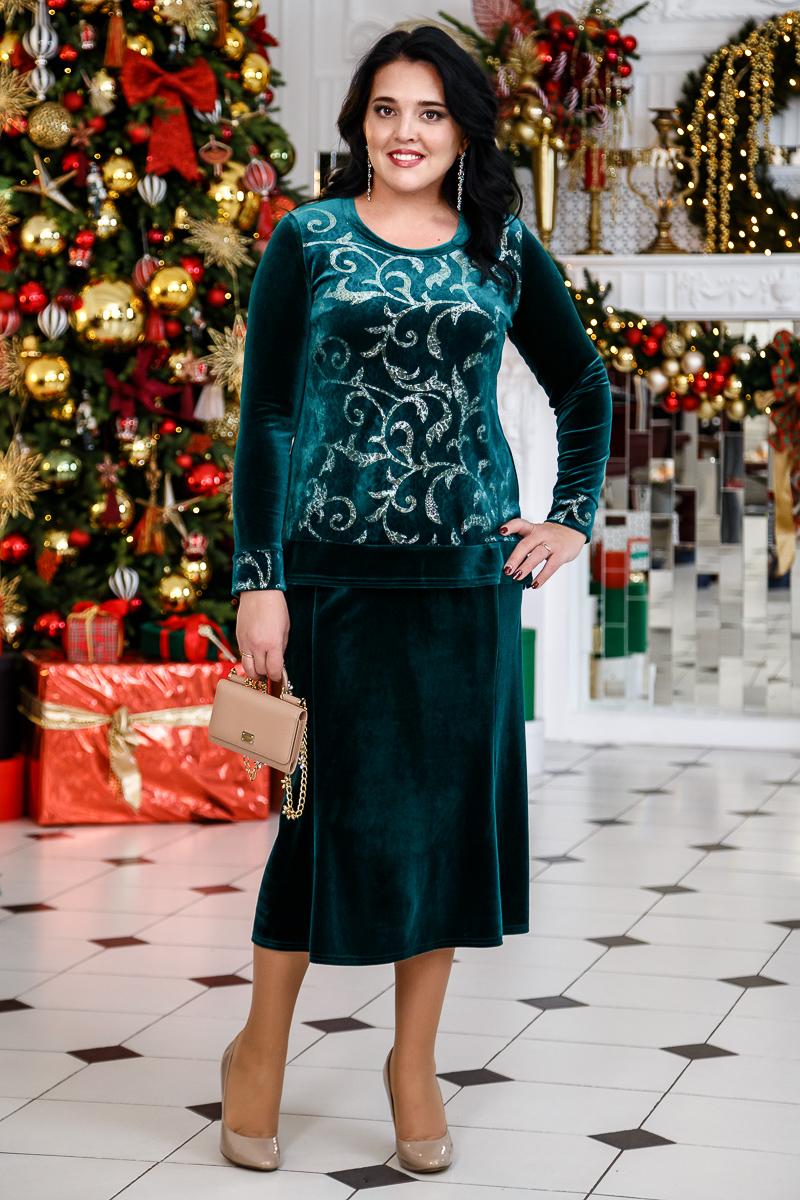 донна и юбка прямая зеленый