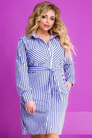 платье-рубашка-Синий