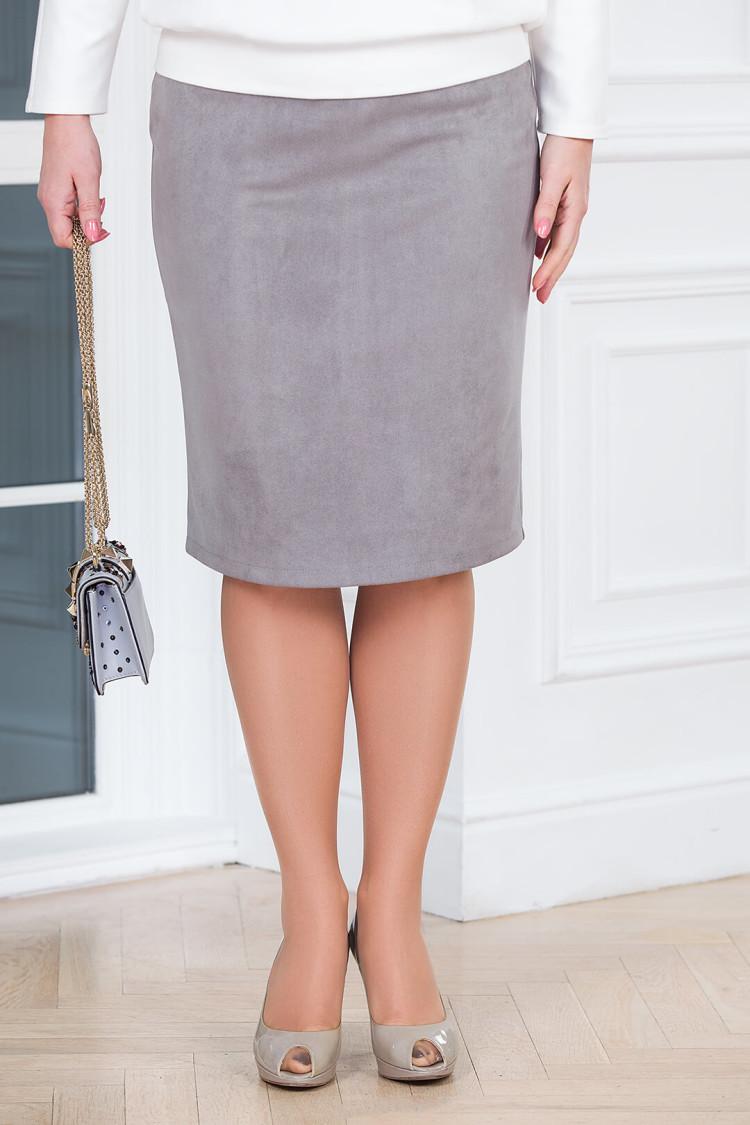 юбка замша светло-серый